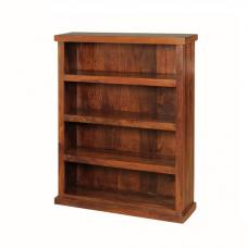 Athens Low Wide Bookcase In Solid Shesham Wood With Shelving