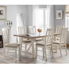Atlantis Wooden Dining Table In Oak And Ivory With 6 Chairs