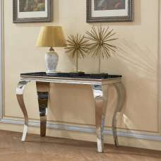 Aubert Marble Effect Console Table In Black And Stainless Steel