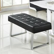 Austin Dining Bench In Black Faux Leather With Chrome Base