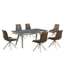 Ava Glass Extending Dining Table In Grey And 6 Mid Brown Chairs