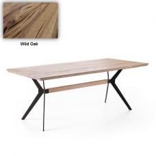 Avantis Dining Table Rectangular In Wild Oak With Metal Frame