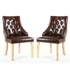 Avian Leather Match Accent Chair In Antique Brown In A Pair