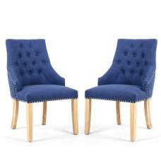 Avian Linen Effect Accent Chair In Sapphire Blue In A Pair