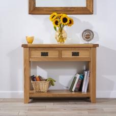 Avignon Console Table Rectangular In Oak With 2 Drawers