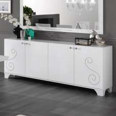Avion Sideboard Large In White High Gloss And Swarovski Inserts