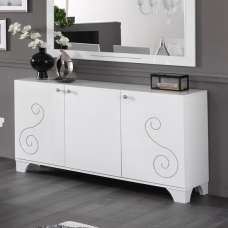 Avion Sideboard In White High Gloss With Swarovski Inserts