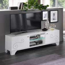 Avion TV Stand In White High Gloss With Swarovski Inserts