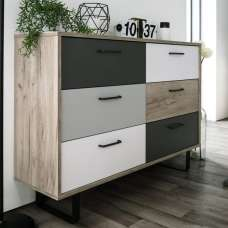 Aviva Chest Of Drawers In Multicolor And Craft Oak