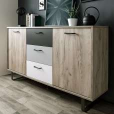 Aviva Wooden Sideboard In Multicolor And Craft Oak With 2 Doors