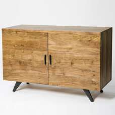 Avoca Wooden Sideboard In Acacia With Metal Legs And 2 Doors