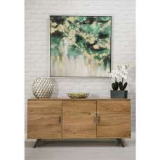 Avoca Wooden Sideboard In Acacia With Metal Legs And 3 Doors