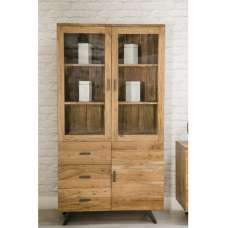 Avoca Display Cabinet In Acacia And Metal Legs With 3 Doors