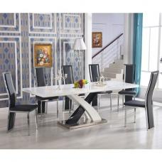 Axara Extendable White Dining Set With 6 Collete Black Chairs