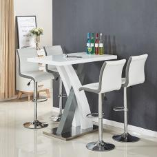 Axara Bar Table In White And Grey Gloss With 4 Ritz White Stools