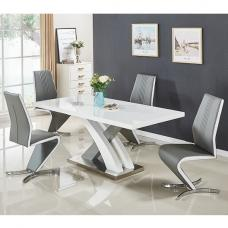 Axara Extending Small Dining Table White Grey Gloss 4 Gia Chairs