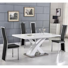 Axara Extending Small Dining Set In White Gloss 6 Black Chairs
