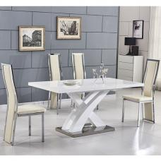 Axara Extending Small Dining Set In White Gloss 6 Cream Chairs