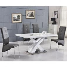 Axara Extending Small Dining Set In White Gloss 4 Grey Chairs