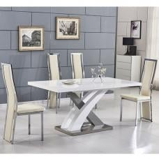 Axara Extending Small Dining Set White Grey Gloss 6 Cream Chairs