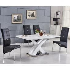 Axara Extending Small Dining Set White Gloss 6 Vesta Black Chair