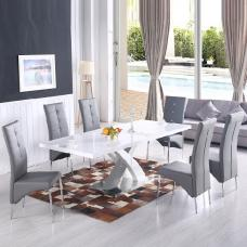 Axara Extendable Dining Table In White With 6 Vesta Grey Chairs