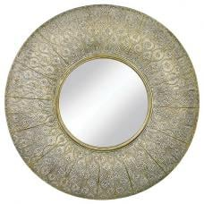 Aylebury Arabian Style Wall Mirror In Gold With Mesh Motifs