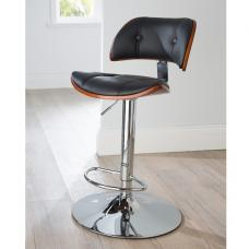 Aylesbury Bar Stool In Black PU And Walnut With Chrome Base