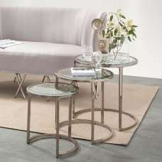 Azealia Glass Nest Of 3 Tables In Clear With Metal Frame