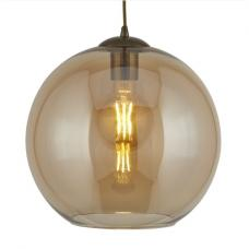 Balls 25cm Pendant Light In Amber Glass And Antique Brass