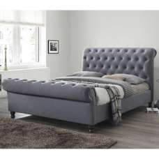 Balmoral Fabric Super King Size Bed In Grey With Dark Feet