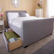 Bamberg Fabric Ottoman Storage Bed In Grey With Drawers