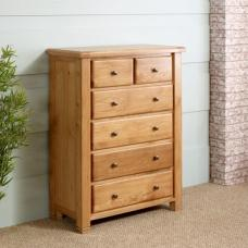 Barista Wooden Chest Of Drawers In Oak With 6 Drawers