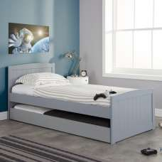 Barnese Wooden Single Bed In Grey With Pull Out Trundle
