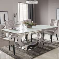 Barney Glass Dining Table In White And Polished Metal Base