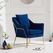 Baron Modern Accent Chair In Blue Velvet With Gold Frame