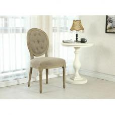 Baron Dining Chair In Grey Linen Fabric With Wooden Legs