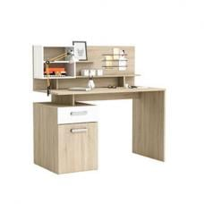 Barrington Computer Desk In Oak And Pearl White With Storage
