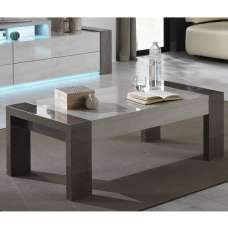 Basix Coffee Table In Dark And White Marble Effect Gloss