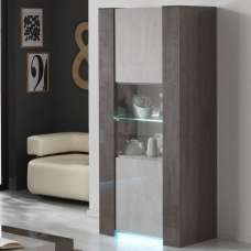 Basix Display Cabinet In Dark And White Marble Effect Gloss LED