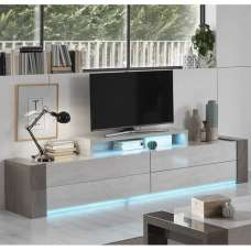 Basix TV Stand Wide In Dark And White Marble Effect Gloss LED