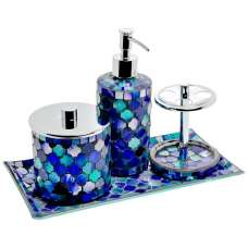 Perth Mosiac Glass Bathroom Set In Aqua Blue