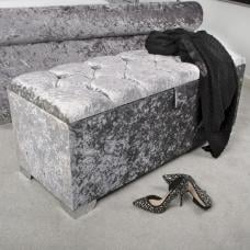 Baxey Crystal Ottoman Large In Crushed Steel Velvet