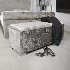 Baxey Crystal Ottoman Small In Crushed Steel Velvet