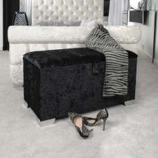 Baxey Ottoman Small In Crushed Black Velvet With Chrome Feet