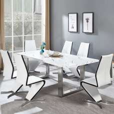 Baxter Large Dining Table Gloss White Marble Finish 6 Gia Chairs