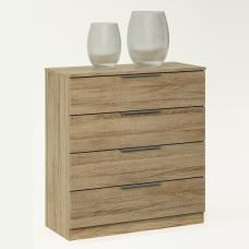 Bayern Wooden Chest of Drawers In Brushed Oak With 4 Drawers