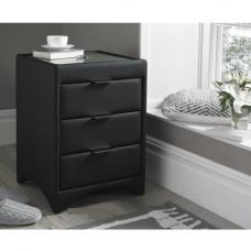 Becky Bedside Cabinet In Black Bonded Leather With Glass Top