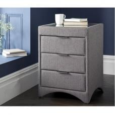 Becky Fabric Bedside Cabinet In Grey With Glass Top