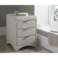 Becky Fabric Bedside Cabinet In Oatmeal With Glass Top
